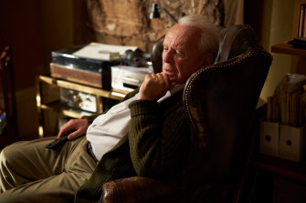 Anthony Hopkins in The Father, in which he depicts a man dealing with the onset of dementia.
