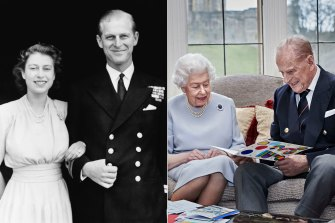 The Queen and Duke of Edinburgh announcing their engagement in 1947; the couple reading 73rd wedding anniversary cards made by the Cambridge's children.
