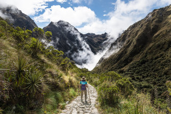 Trekking the Inca Trail to the ancient city of Machu Picchu.