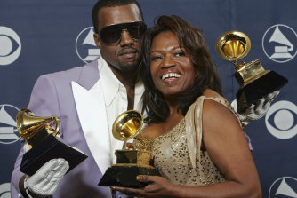 Kanye West and his mother Donda, pictured in February 2006.